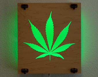 Cannabis Lightsculpture - RGB LEDs with remote