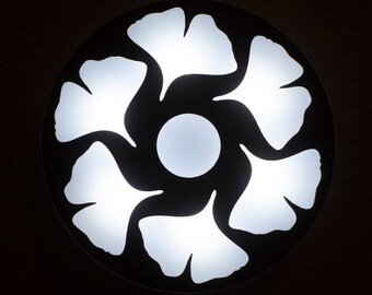 Ginkgo Nightlight - Walnut - Dimmable, Rechargeable battery operated, micro USB charging, magnetic mount