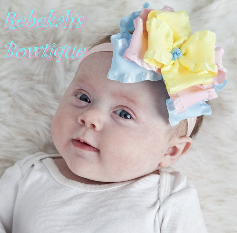4041b1b8482bb Spring baby headband, Easter baby headband, double ruffle bows, hair bows  for girls, Pink bows, blue bows, yellow bows, newborn headband