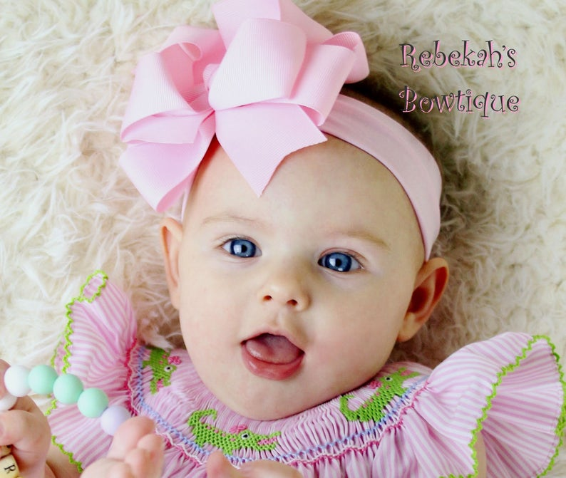 Pink baby headband double stacked bows boutique hair bows  e77e9fbc33f