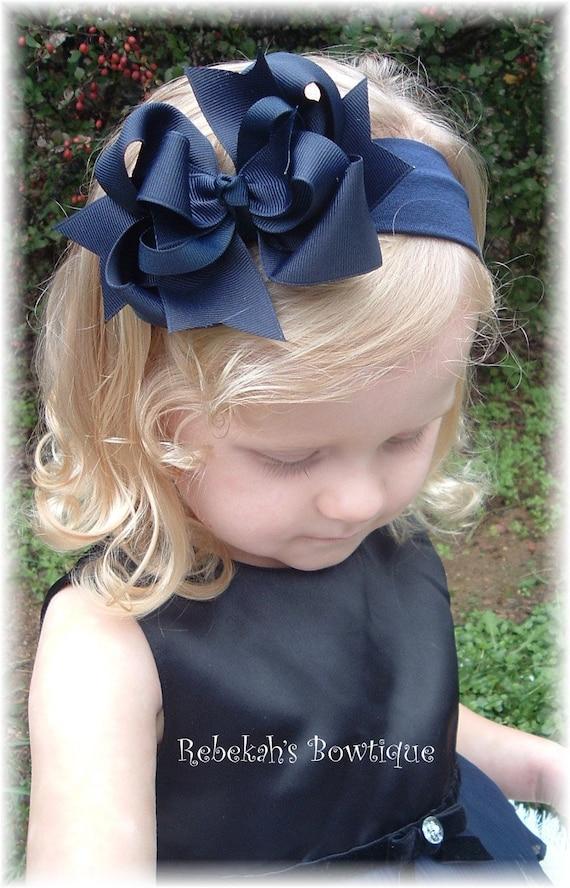 Navy Blue Headband Baby Hair Accessories Navy Bow Headband Girls Hair Accessories Navy Baby Headband Baby Girls Hair Accessories Navy