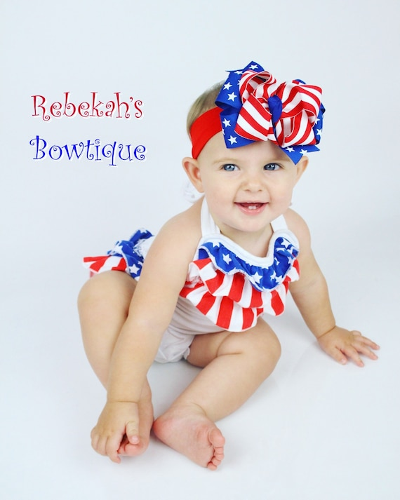 Infant Baby Girl July 4th Patriotic Red Blue Hair Bow Clip Barrette or Headband