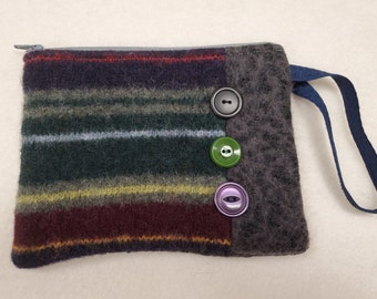 Tweedies Handmade Upcycled Wool Zipper Pouches Painted Bunting
