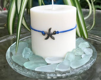 """Starfish, Soy  Pillar on the Sea Glass, 3"""" x 3"""", Beautiful Beach Wedding Centerpiece or a gift for that special someone, Eco Friendly"""