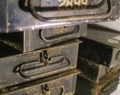 Vintage Black Metal Bankers Safety Deposit Box