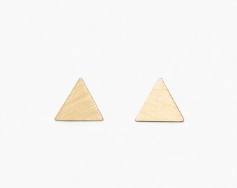 Triangle gold brass stud earrings // 925 silver studs