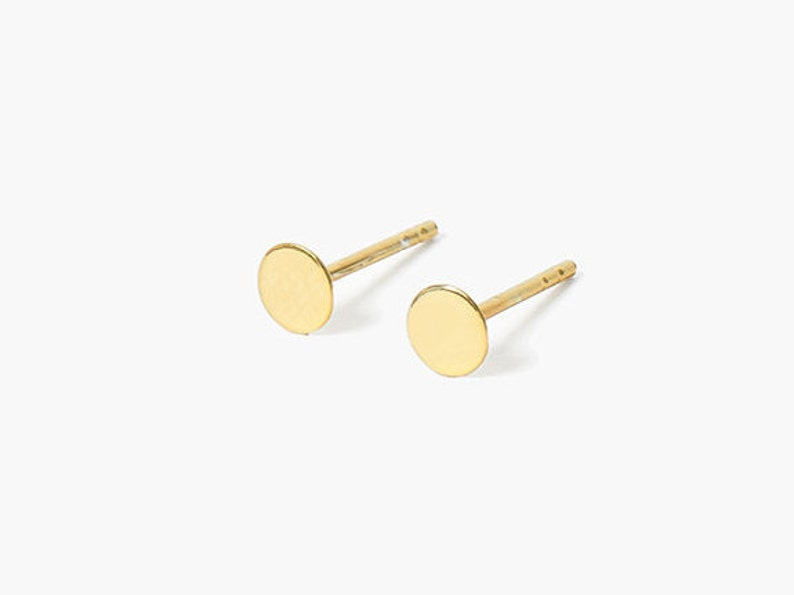 Gold stud earrings // tiny dot vermeil earrings gold-plated image 0