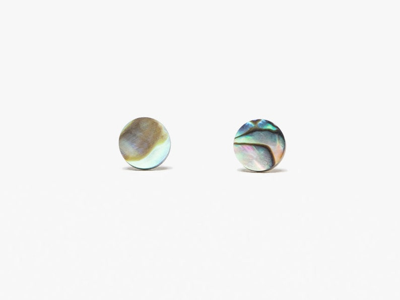 Mother of pearl stud earrings // 925 silver studs image 0