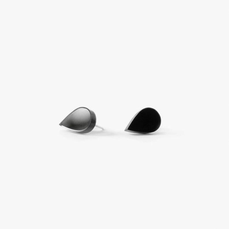 Black teardrop stud earrings // sterling silver studs image 0