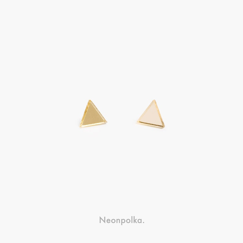Triangle stud earrings sterling silver posts // many colors image 0