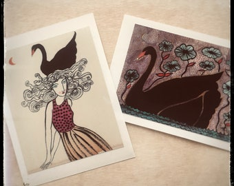 """Vinyl sticker set, """"Swan Song"""". Stickers measure approximately 2 x 3""""."""