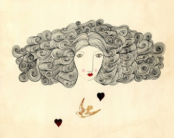 Sweetness and Love-Big Hair, Bird, Heart, Art Print