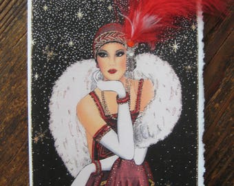 "Art Deco ""Lady in Red"" card"