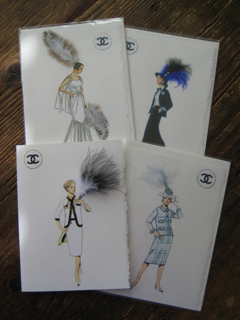 d855d5685399 Coco Chanel fashion illustration design print cards The
