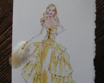 Golden Barbie Vintage fashion illustration note card