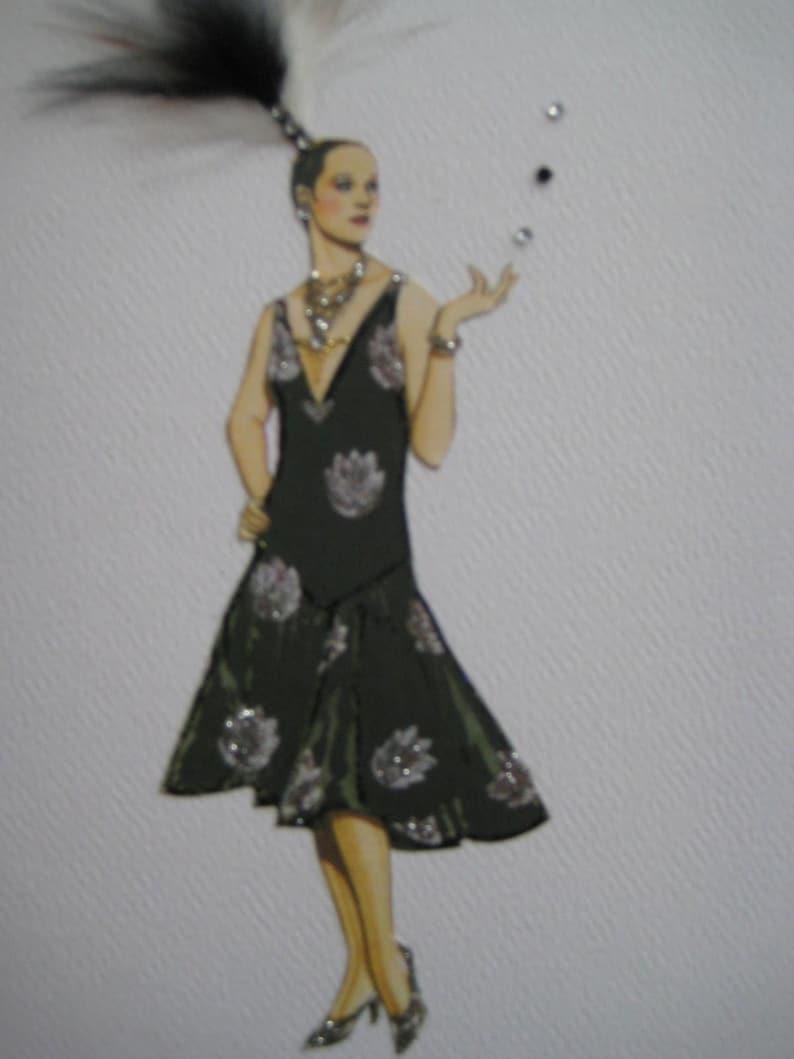 1927  Fashion illustration Cheruit Black taffeta Evening Dress with brocaded silver motifs designer note card