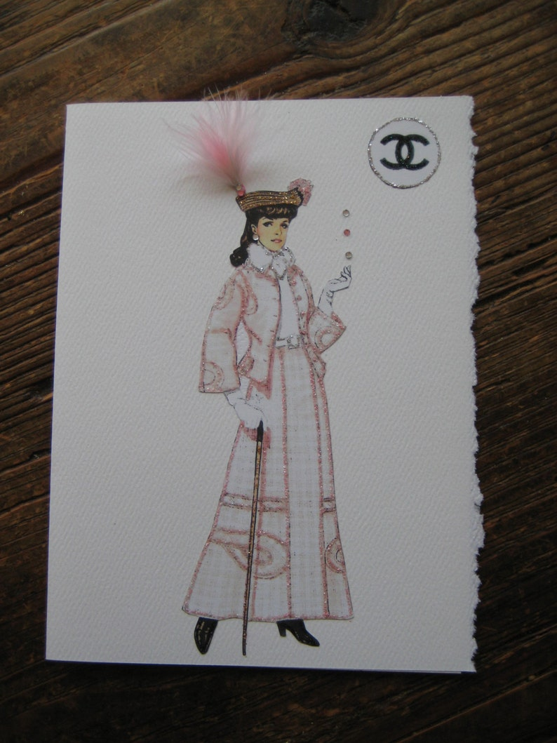aa35394455c 1906 Coco Chanel first design fashion illustration card