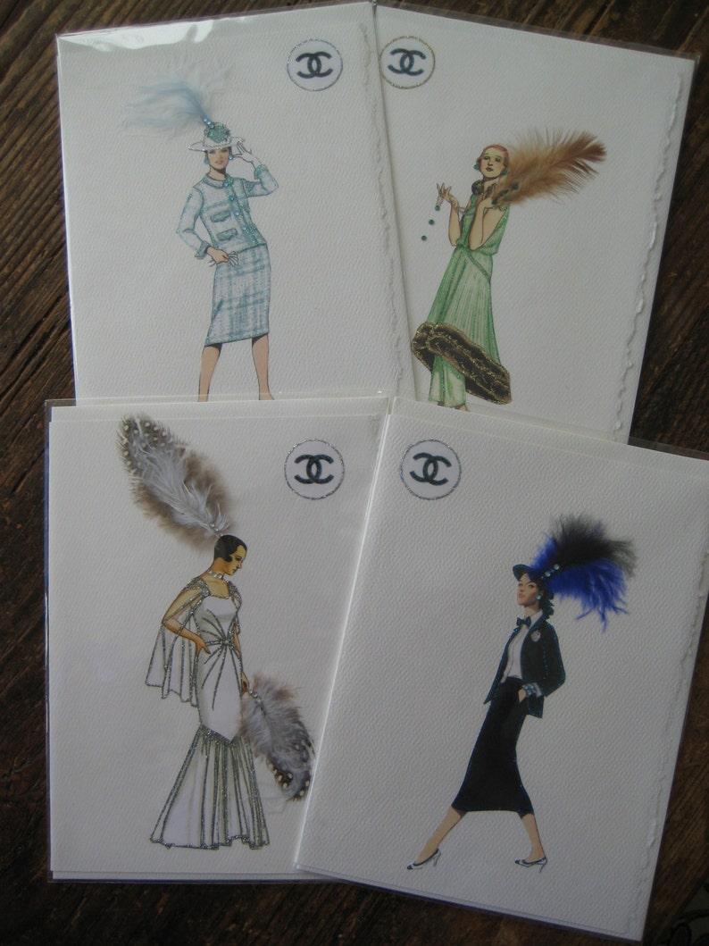 31f32dcab28a Fashion illustration Boxed Coco Chanel fashion print note