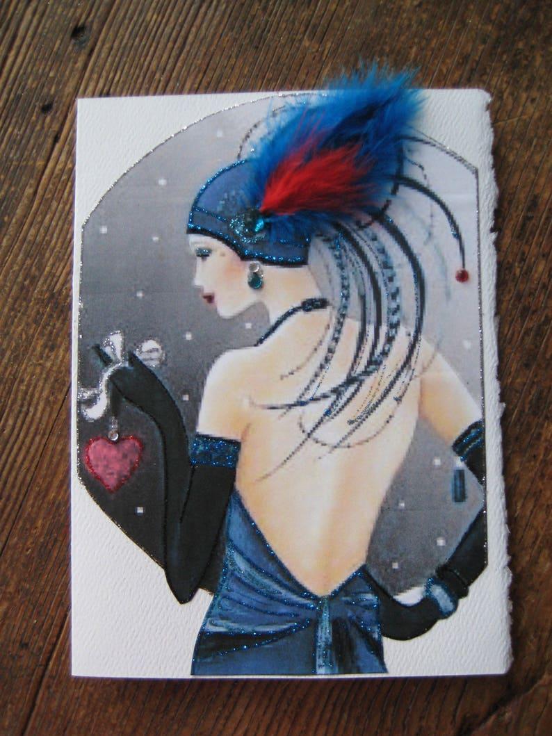 Art Deco Heart in Hand 5x7 notecard