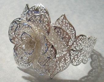Sterling Plated Floral Filigree Cuff Bracelet