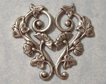 Antique Silver Morning Glory Heart Stamping