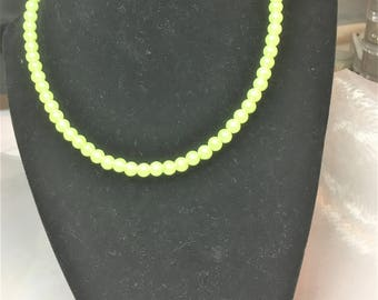 Lime Green Faux Pearl Necklace #508