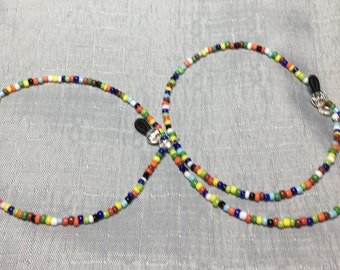 Handmade Beaded Mix Colored Opaque Reading Sunglass Eyeglass Chain Holder #131