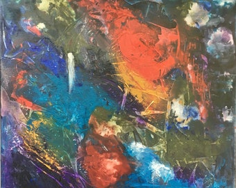 Original Abstract Painting - Night Sounds - 20 x 20 inches - Kate Ladd