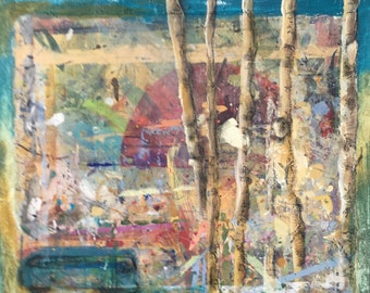 """Original painting - sunset, birch trees, blue bus - 20 x 20 """" - abstract - Last Bus of the Day"""