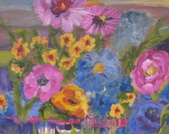 Garden of Flowers - Original Art - Original Floral Painting - Impressionist art -  20 x 20 inches Kate Ladd