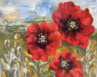 Red poppies - Original Painting - Poppy cluster - 16 x 20 inches