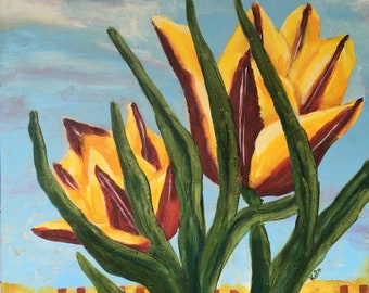 Tulips Original Painting 20x20 inches Red and Yellow