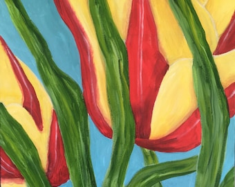 """Tulips Close Up Abstract Flowers 20 x 20"""""""