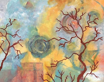 Falling Stars - Original painting - 20 x 20 inches - Kate Ladd