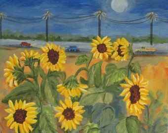 Original Painting - Painting on Canvas - Sunflower painting - Original Art - landscape painting - floral painting - moon painting