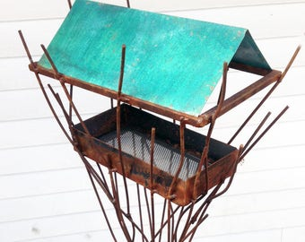 Sculptural Steel & Copper Bird Feeder No. 358 - Freestanding unique modern bird feeder