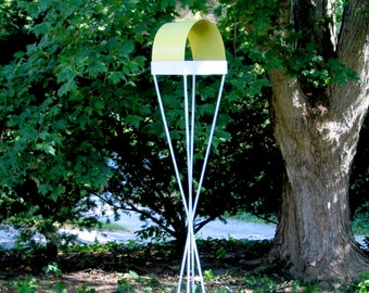 Twist Series Freestanding welded steel Bird Feeder - White enamel finish with Yellow enamel steel roof