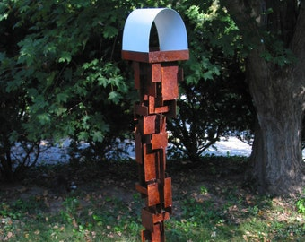 Bird Feeder Modern Build series bird feeder No. 23 in patina steel with white enamel steel roof