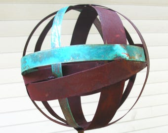 Sculptural Steel & Copper Bird Feeder No. 350 - Freestanding unique modern bird feeder garden globe