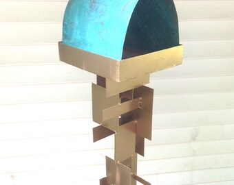 Bird Feeder Modern Build series bird feeder No. 25 in welded steel with natural turquoise patina copper roof and metallic brass spray enamel