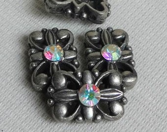 6 sliders B with two holes antiqued metal with swarovski crystal Clear AB Aurora Borealis