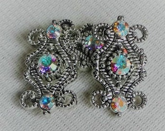 6 sliders PA3 with two holes antiqued metal with 3 swarovski crystals per slider Clear AB Aurora Borealis