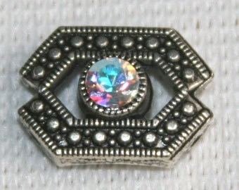 6 sliders C with two holes antiqued metal with swarovski crystal Clear AB Aurora Borealis