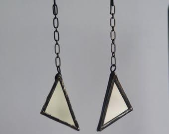 Mirror Earrings- Reflective Earrings - Dangle Earrings- Drop Earrings- Statement Earrings- Long Dangle Earrings