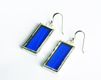 Stained Glass Earrings, Cobalt Blue Earrings, Colorful  Earings, Geometric Earrings, Girlfriend Gift, Glass Earrings