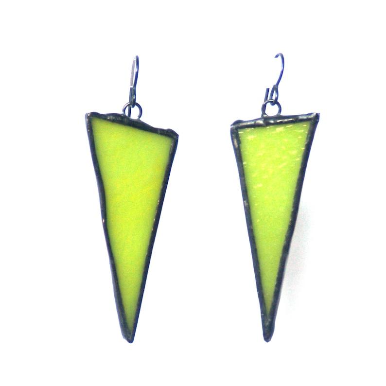 Dangling Earrings Triangle Earrings Stained Glass Earrings Green Earrings Geometric Earrings Statement Earrings