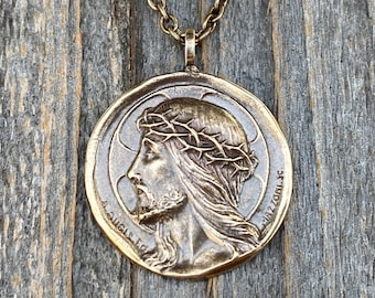 Bronze Crowned Jesus Medal and Necklace, French Antique Replica, Artists Augis and Mazzoni, Rare Jesus Pendant, Jesus Christ Crowned King