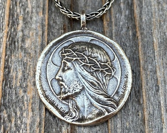 Sterling Silver Crowned Jesus Medal Pendant Necklace, French Antique Replica, Artists Augis and Mazzoni, Jesus Christ Pendant from France
