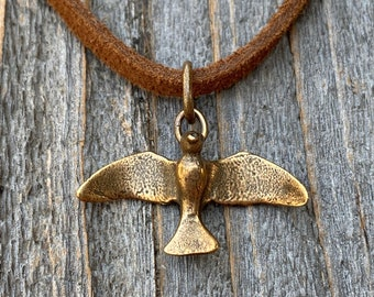 Bronze Holy Spirit Flying Dove Pendant on Suede Lace Leather, Antique Replica, Adjustable Bronze Slider Bead, Adjustable Length Necklace