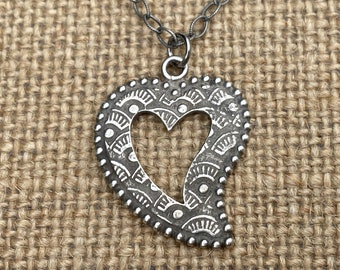 Sterling Silver Milagro Heart Pendant on a Sterling Silver Textured Cable Chain, Antique Replica, Oxidized Heart Charm, .925 Heart Necklace
